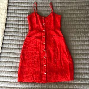 NWOT Cynthia Rowley Red Linen Mini Dress